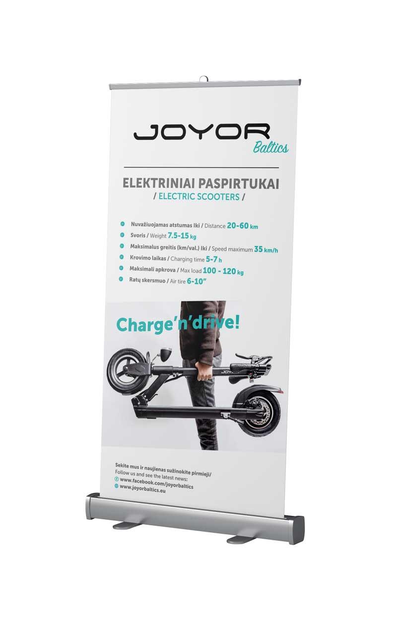 Rollup baneris izgatavošana roll-up baneri / mobilie stendi Roll-up baneri / mobilie stendi Joyor Rollup side 100x200 410x640