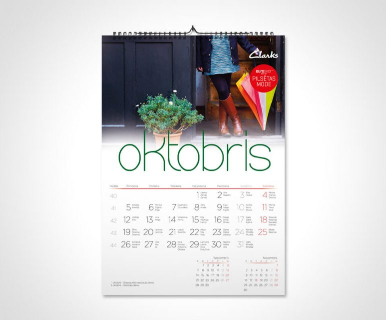 Sienas kalendārs A3 druka kalendāru izgatavošana Kalendāru izgatavošana Sienas EuroskorA3 773x640